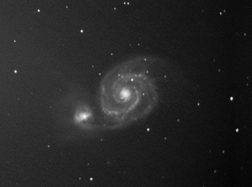 M51 am 7.4.2013 aufgenommen in Santa Luce (Italien) mit EOS 500D, @iso3200, 102*30 Sekunden, C8 mit f/6.