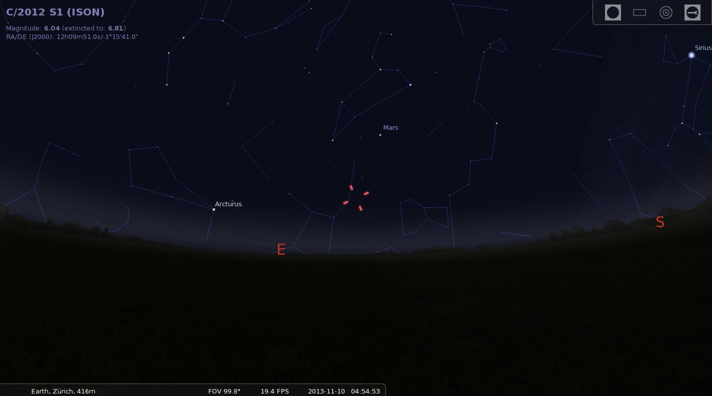 Komet ISON am Morgenhimmel (10.11.)