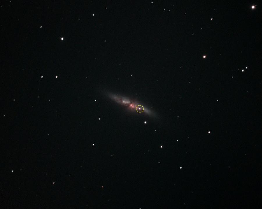 Supernova SN2014J in M82 aufgenommen am 28.1.2014 von ZH-Affoltern aus.