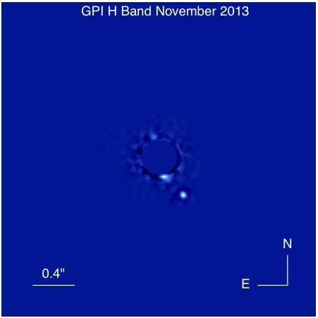 Bild des Exoplaneten Beta Pictoris b aufgenommen mit dem Gemini Planet Imager Teleskop in Chile.