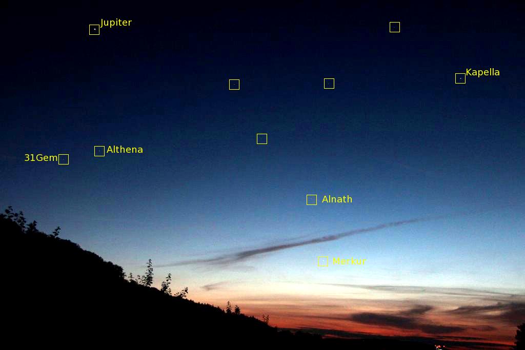 Merkur und Jupiter am Abendhimmel