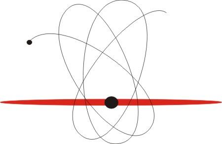 Im Zentrum des Quasars kreist ein kleineres Schwarzes Loch um ein grosses und durchquert dabei alle 12 Jahre dessen Akkretionsscheibe.